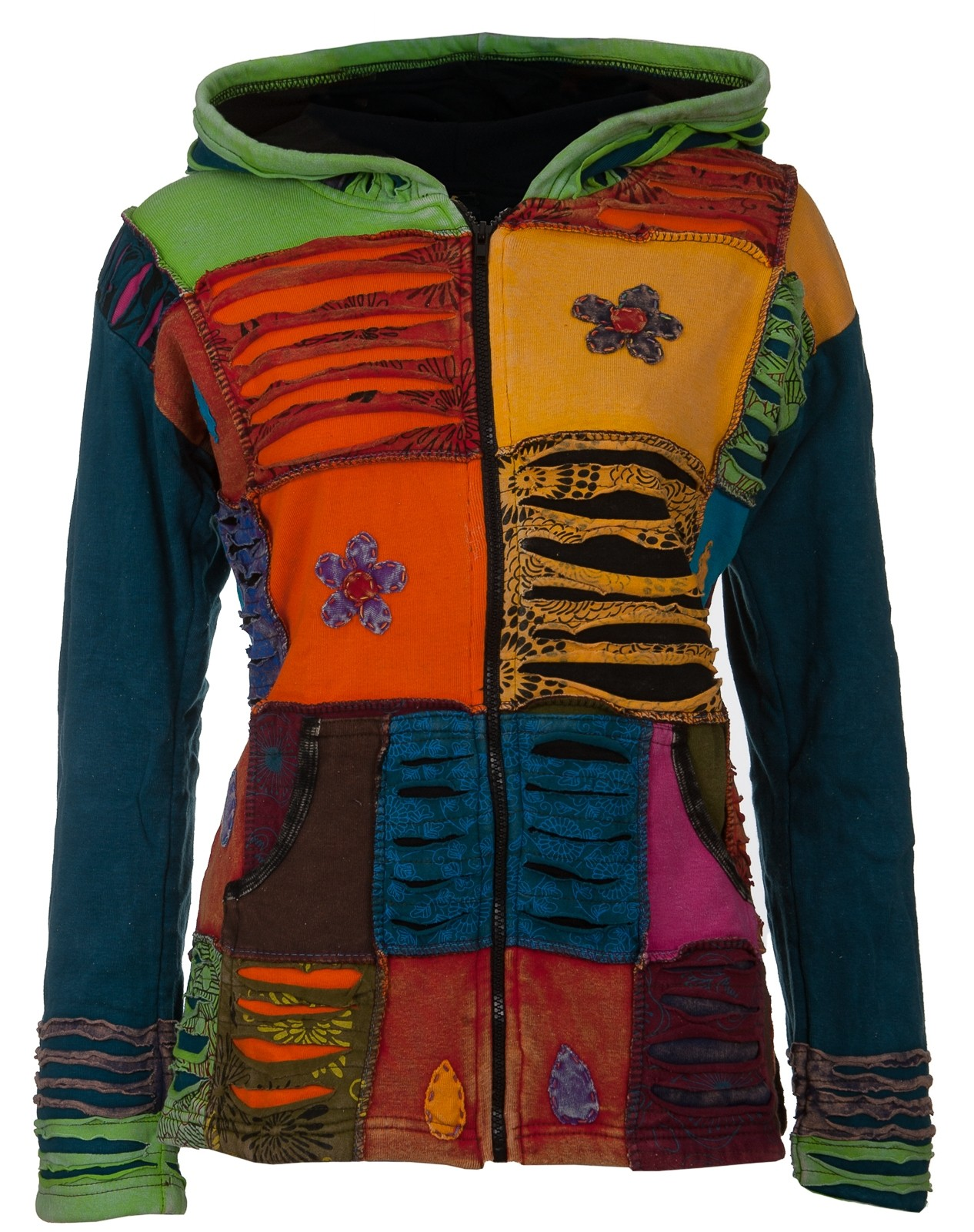 Hippie Strickjacke | Patchworkjacke | Bunt