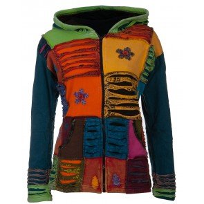 Hippie Strickjacke | Patchworkjacke | Bunt | Fleece
